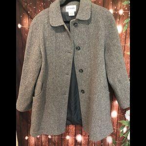 Liz baker classic wool blend grey pea coat size 8